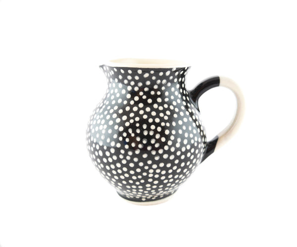 Black with white dots Milk Creamer 10oz - Handmade Ceramics and pottery | Teapots, Coffee and Tea Mugs, Vases, Bowls, Plates, Ashtrays | Handmade stoneware - 1