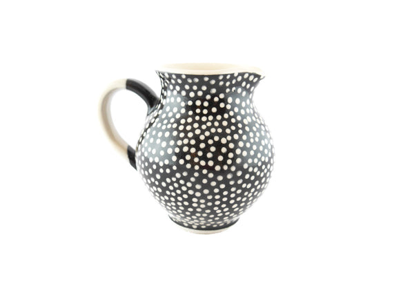 Black with white dots Milk Creamer 10oz - Handmade Ceramics and pottery | Teapots, Coffee and Tea Mugs, Vases, Bowls, Plates, Ashtrays | Handmade stoneware - 4