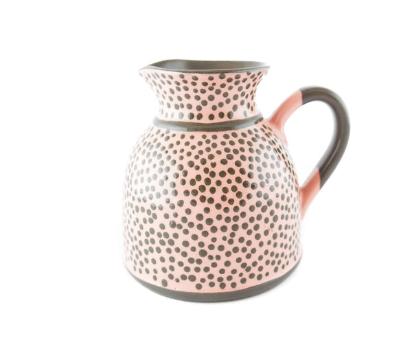 Pink with grey dots Milk Creamer 11.5oz - Handmade Ceramics and pottery | Teapots, Coffee and Tea Mugs, Vases, Bowls, Plates, Ashtrays | Handmade stoneware - 1