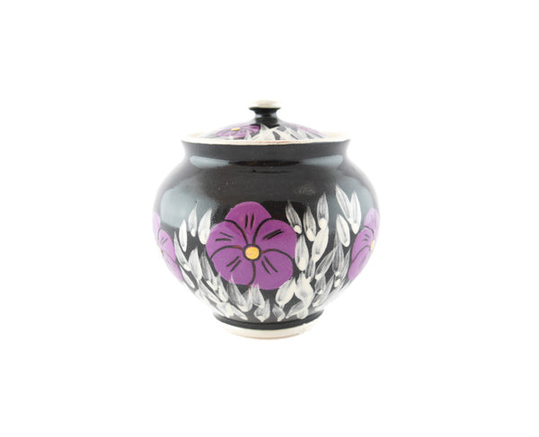 Black with violet Sugar Bowl - Handmade Ceramics and pottery | Teapots, Coffee and Tea Mugs, Vases, Bowls, Plates, Ashtrays | Handmade stoneware - 1