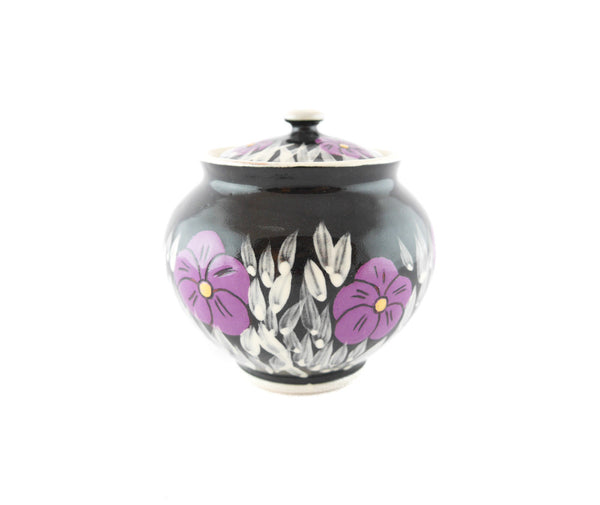 Black with violet Sugar Bowl - Handmade Ceramics and pottery | Teapots, Coffee and Tea Mugs, Vases, Bowls, Plates, Ashtrays | Handmade stoneware - 2