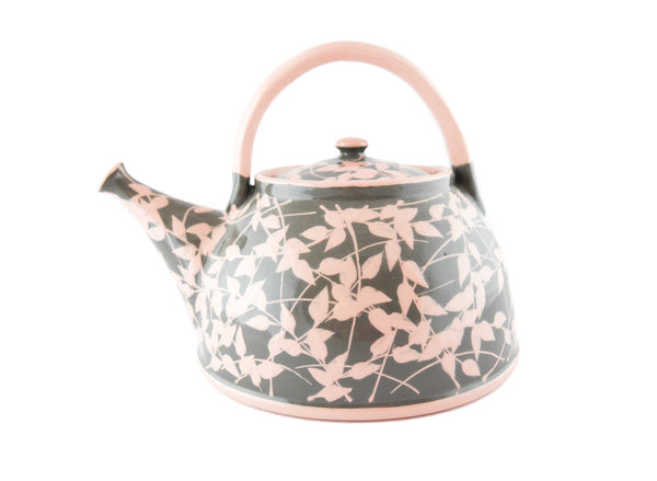 Grey with pink leafs Ceramic Teapot 30oz - Handmade Ceramics and pottery | Teapots, Coffee and Tea Mugs, Vases, Bowls, Plates, Ashtrays | Handmade stoneware - 1