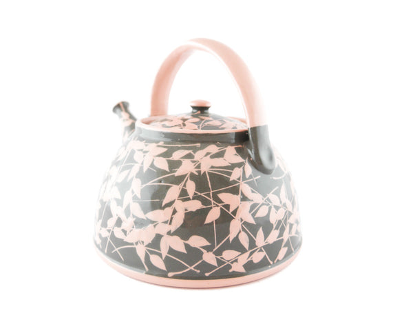Grey with pink leafs Ceramic Teapot 30oz - Handmade Ceramics and pottery | Teapots, Coffee and Tea Mugs, Vases, Bowls, Plates, Ashtrays | Handmade stoneware - 3