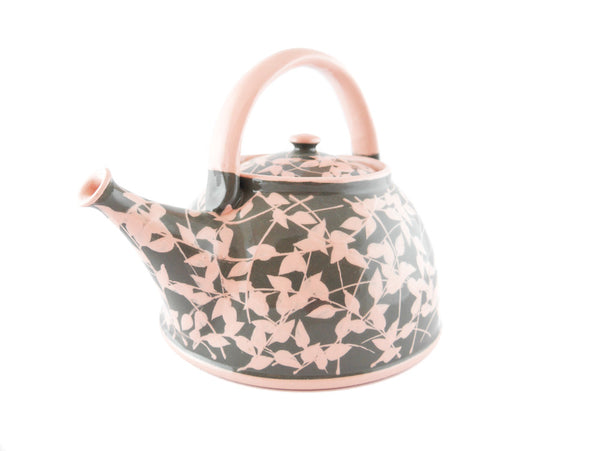 Grey with pink leafs Ceramic Teapot 30oz - Handmade Ceramics and pottery | Teapots, Coffee and Tea Mugs, Vases, Bowls, Plates, Ashtrays | Handmade stoneware - 4