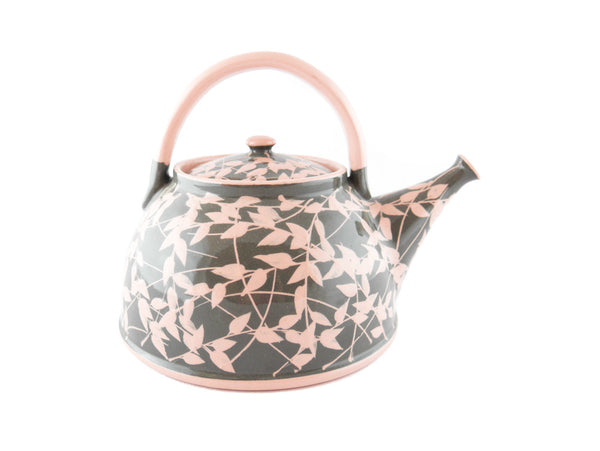 Grey with pink leafs Ceramic Teapot 30oz - Handmade Ceramics and pottery | Teapots, Coffee and Tea Mugs, Vases, Bowls, Plates, Ashtrays | Handmade stoneware - 5