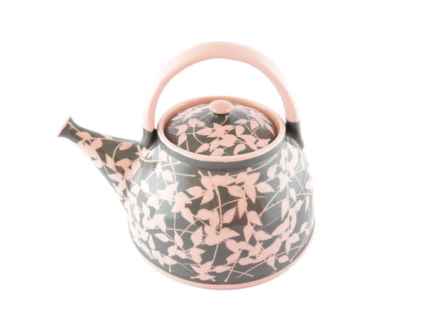 Grey with pink leafs Ceramic Teapot 30oz - Handmade Ceramics and pottery | Teapots, Coffee and Tea Mugs, Vases, Bowls, Plates, Ashtrays | Handmade stoneware - 6
