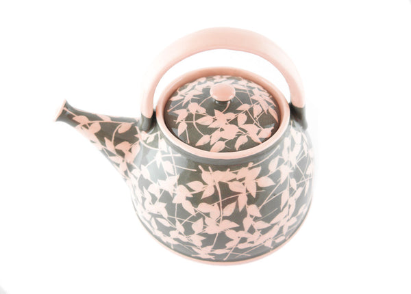 Grey with pink leafs Ceramic Teapot 30oz - Handmade Ceramics and pottery | Teapots, Coffee and Tea Mugs, Vases, Bowls, Plates, Ashtrays | Handmade stoneware - 2