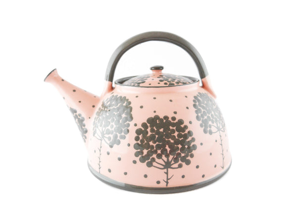 Pink with grey tree Ceramic Teapot 30oz - Handmade Ceramics and pottery | Teapots, Coffee and Tea Mugs, Vases, Bowls, Plates, Ashtrays | Handmade stoneware - 1