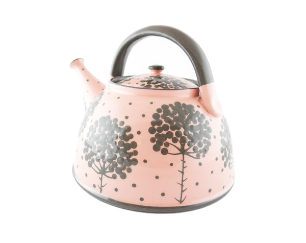 Pink with grey tree Ceramic Teapot 30oz - Handmade Ceramics and pottery | Teapots, Coffee and Tea Mugs, Vases, Bowls, Plates, Ashtrays | Handmade stoneware - 2