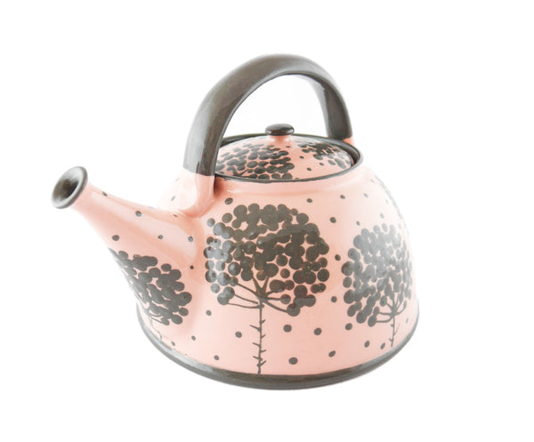 Pink with grey tree Ceramic Teapot 30oz - Handmade Ceramics and pottery | Teapots, Coffee and Tea Mugs, Vases, Bowls, Plates, Ashtrays | Handmade stoneware - 3