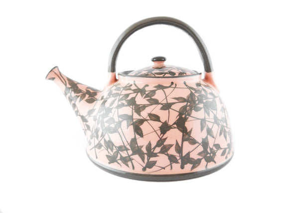 Pink with grey leafs Ceramic Teapot 30oz - Handmade Ceramics and pottery | Teapots, Coffee and Tea Mugs, Vases, Bowls, Plates, Ashtrays | Handmade stoneware - 1