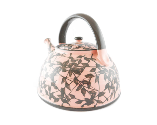 Pink with grey leafs Ceramic Teapot 30oz - Handmade Ceramics and pottery | Teapots, Coffee and Tea Mugs, Vases, Bowls, Plates, Ashtrays | Handmade stoneware - 3