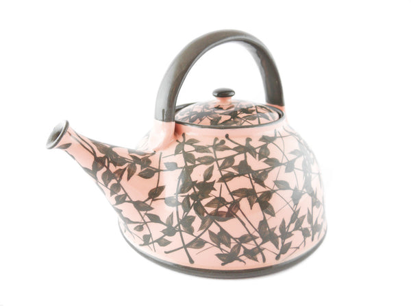 Pink with grey leafs Ceramic Teapot 30oz - Handmade Ceramics and pottery | Teapots, Coffee and Tea Mugs, Vases, Bowls, Plates, Ashtrays | Handmade stoneware - 4