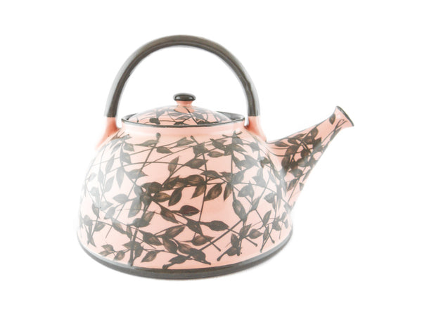 Pink with grey leafs Ceramic Teapot 30oz - Handmade Ceramics and pottery | Teapots, Coffee and Tea Mugs, Vases, Bowls, Plates, Ashtrays | Handmade stoneware - 5