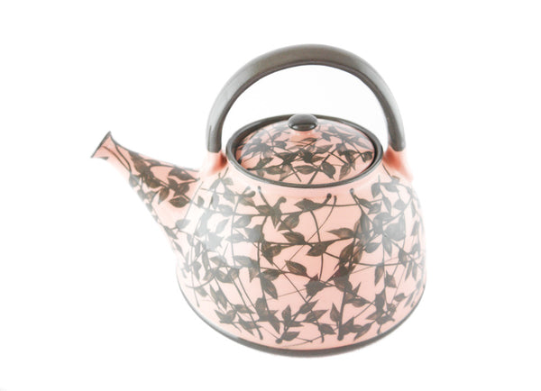 Pink with grey leafs Ceramic Teapot 30oz - Handmade Ceramics and pottery | Teapots, Coffee and Tea Mugs, Vases, Bowls, Plates, Ashtrays | Handmade stoneware - 6
