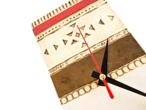 "Handmade Ceramic Wall Clock 11"" in Red and Gold C01 - Handmade Ceramics and pottery 