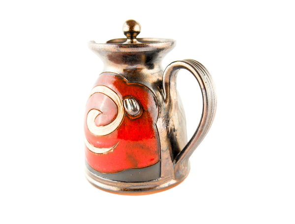 Pottery Creamer with Lid 8.5oz Orient - Handmade Ceramics and pottery | Teapots, Coffee and Tea Mugs, Vases, Bowls, Plates, Ashtrays | Handmade stoneware - 2