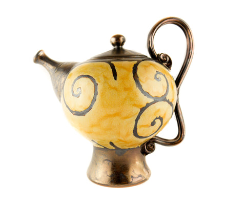 Handmade Ceramic Teapot 50oz Gold - Handmade Ceramics and pottery | Teapots, Coffee and Tea Mugs, Vases, Bowls, Plates, Ashtrays | Handmade stoneware - 1