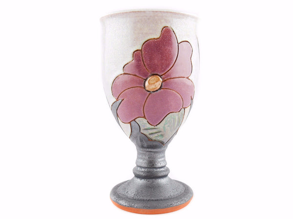 Handmade Ceramic Wine Goblet 6oz Flower - Handmade Ceramics and pottery | Teapots, Coffee and Tea Mugs, Vases, Bowls, Plates, Ashtrays | Handmade stoneware - 1