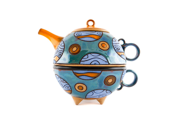 Tea For One Set -  Blue Planets - Handmade Ceramics and pottery