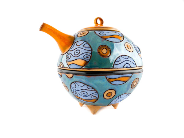 Teapot and Tea cup - Tea for one set in Blue Planets