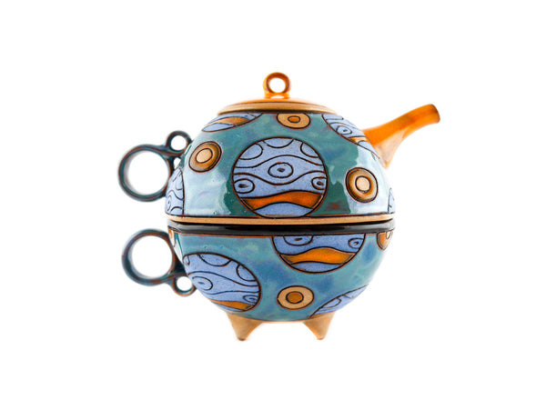 Pottery Tea For One Set -  Blue Planets -