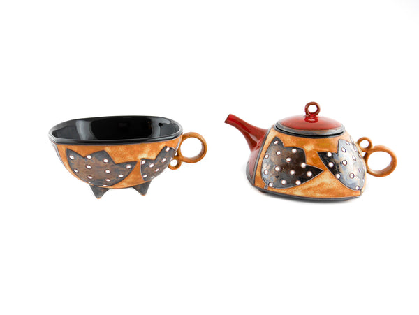 Pottery Tea For One Set -  Red Tulips - Handmade Ceramics and pottery