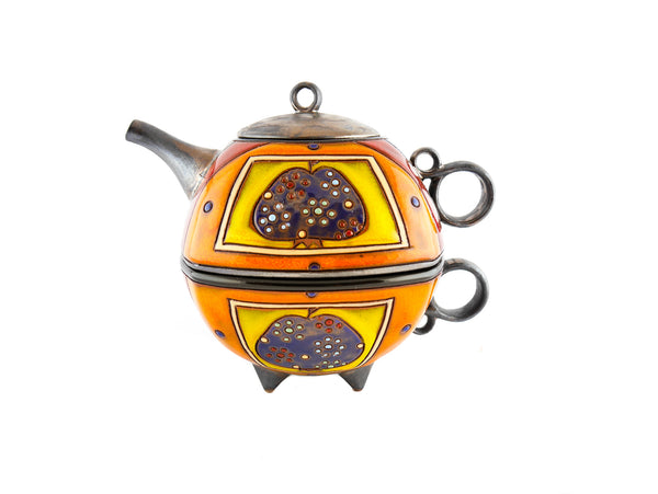 Tea For One Set Teapot -  Blue Apple - Handmade Ceramics and pottery
