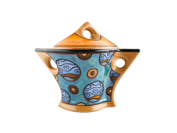 Ceramic Sugar Bowl with Lid - Blue Planets