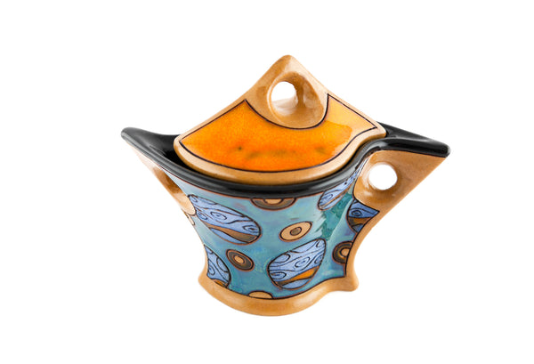 Pottery Sugar Bowl with Lid - Blue Planets
