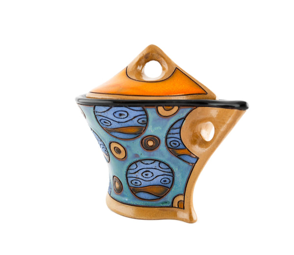 Very funny and colorful sugar bowl with lid and decorated planets