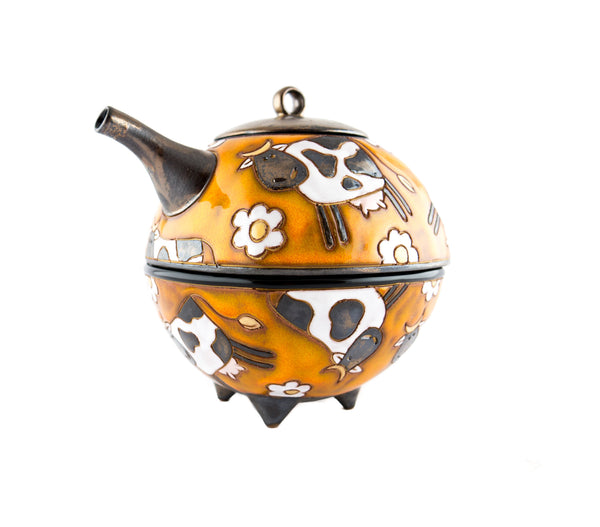Pottery Teapot for One - Swiss Cows