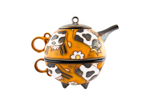 Teapot and tea cup - Tea for one set - Swiss Cows