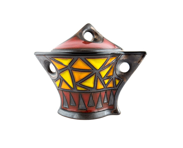 Ceramic Sugar Bowl with Lid - Triangles - Handmade Ceramics and pottery | Teapots, Coffee and Tea Mugs, Vases, Bowls, Plates, Ashtrays | Handmade stoneware - 1