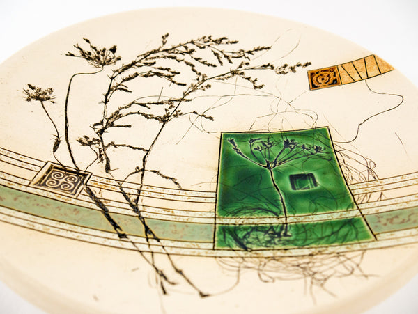 "Round Pottery Fruit Plate 8.6"" Nature 5 - Handmade Ceramics and pottery 