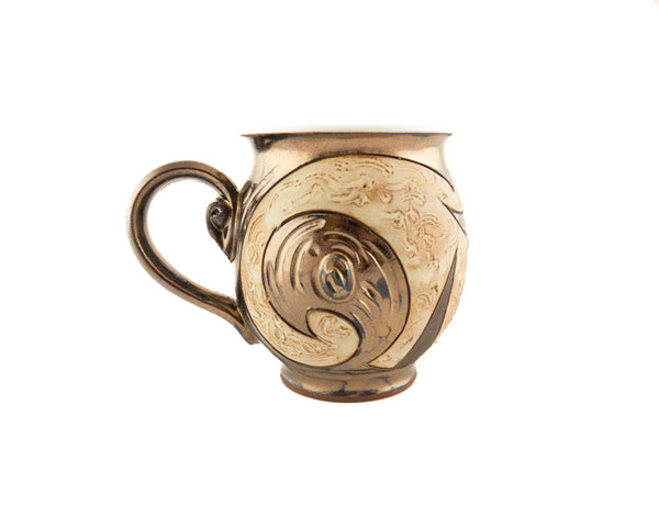 Handmade Pottery Mug 10oz Antique in Gold and Brown - Handmade Ceramics and pottery | Teapots, Coffee and Tea Mugs, Vases, Bowls, Plates, Ashtrays | Handmade stoneware - 1