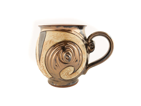 Handmade Pottery Mug 10oz Antique in Gold and Brown - Handmade Ceramics and pottery | Teapots, Coffee and Tea Mugs, Vases, Bowls, Plates, Ashtrays | Handmade stoneware - 2