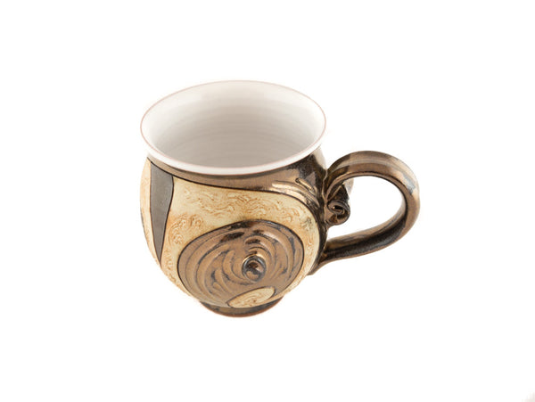 Handmade Pottery Mug 10oz Antique in Gold and Brown - Handmade Ceramics and pottery | Teapots, Coffee and Tea Mugs, Vases, Bowls, Plates, Ashtrays | Handmade stoneware - 3