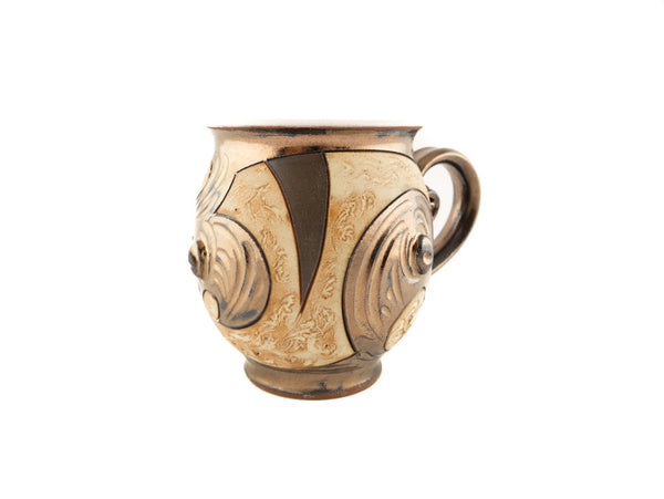 Handmade Pottery Mug 10oz Antique in Gold and Brown - Handmade Ceramics and pottery | Teapots, Coffee and Tea Mugs, Vases, Bowls, Plates, Ashtrays | Handmade stoneware - 4