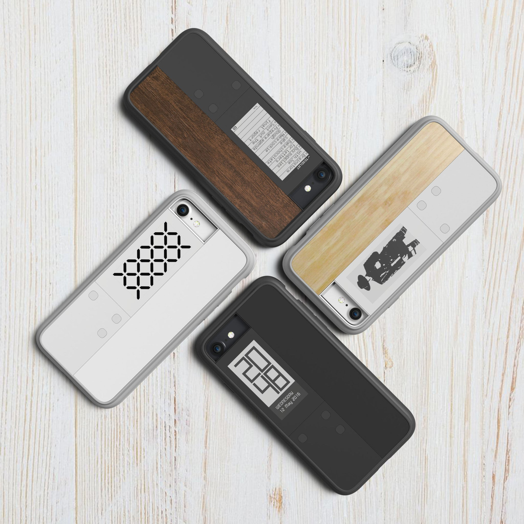 inkcase IVY in 4 different color options of black, white, maplewood and rosewood
