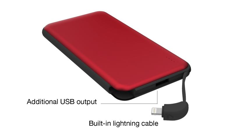 iOne Charge with integrated lightning cable. 10,000mAh