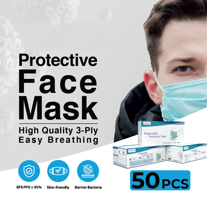 3-ply Disposable Face Mask For Adults (50 pcs) - Oaxis - The Official Maker of InkCase and the brand owner of myFirst - A brand new collection for kids