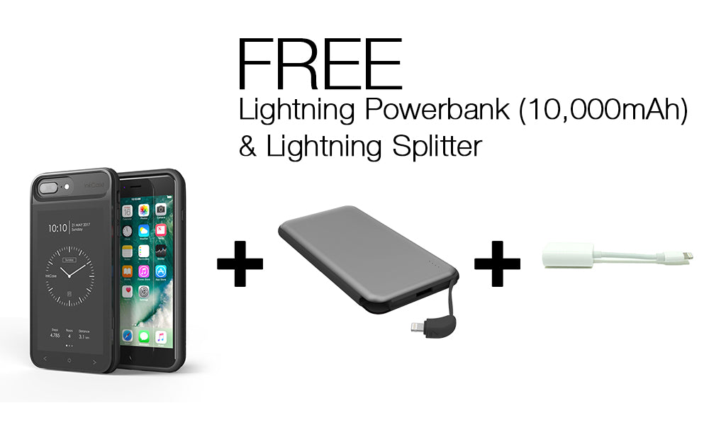 InkCase I7 Plus & Lightning Powerbank (10,000mAh) & Lightning Splitter Bundle For iPhone 8/7/6 Plus