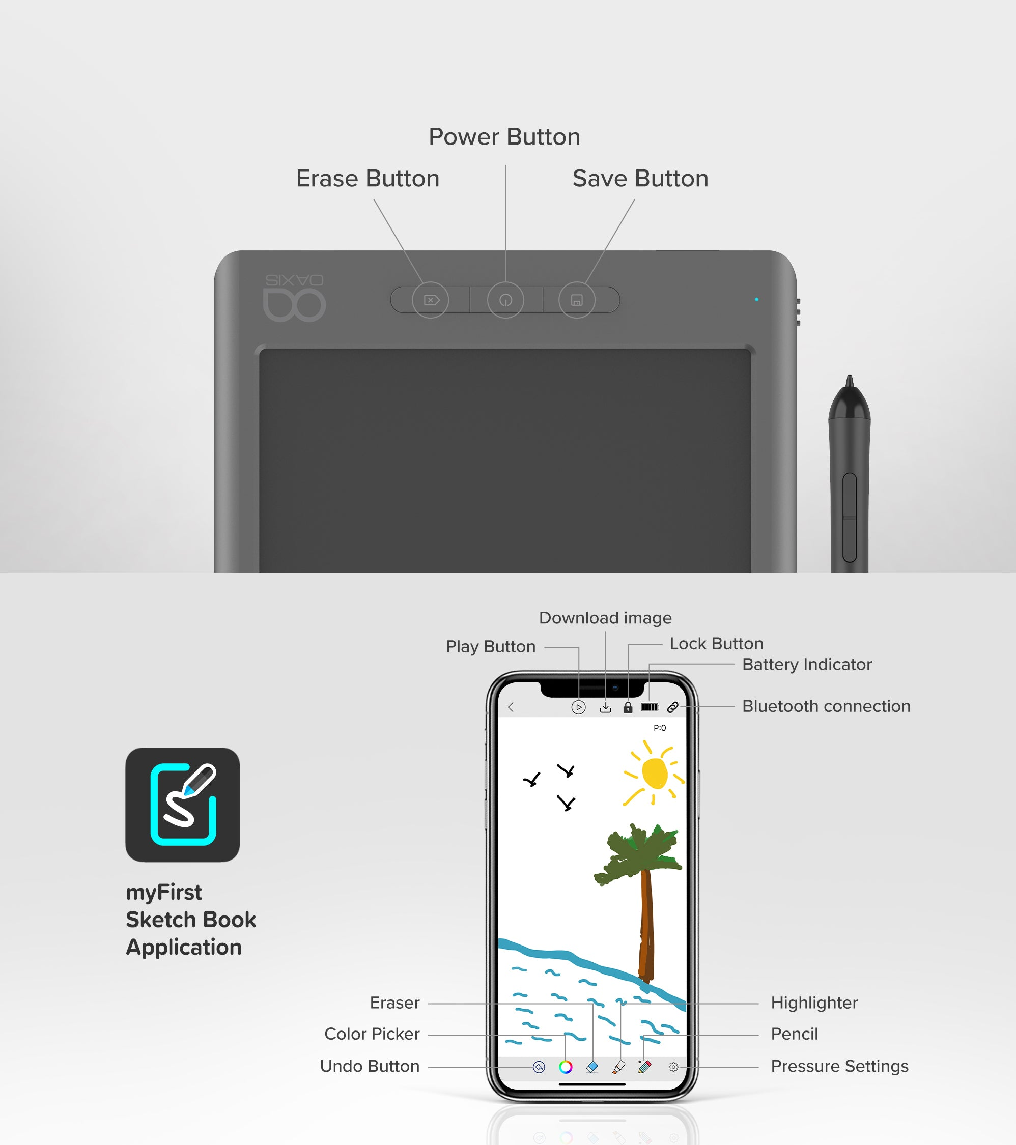 myFirst Sketch Book - Portable Drawing Pad with Instant Digitisation and sketch book apps
