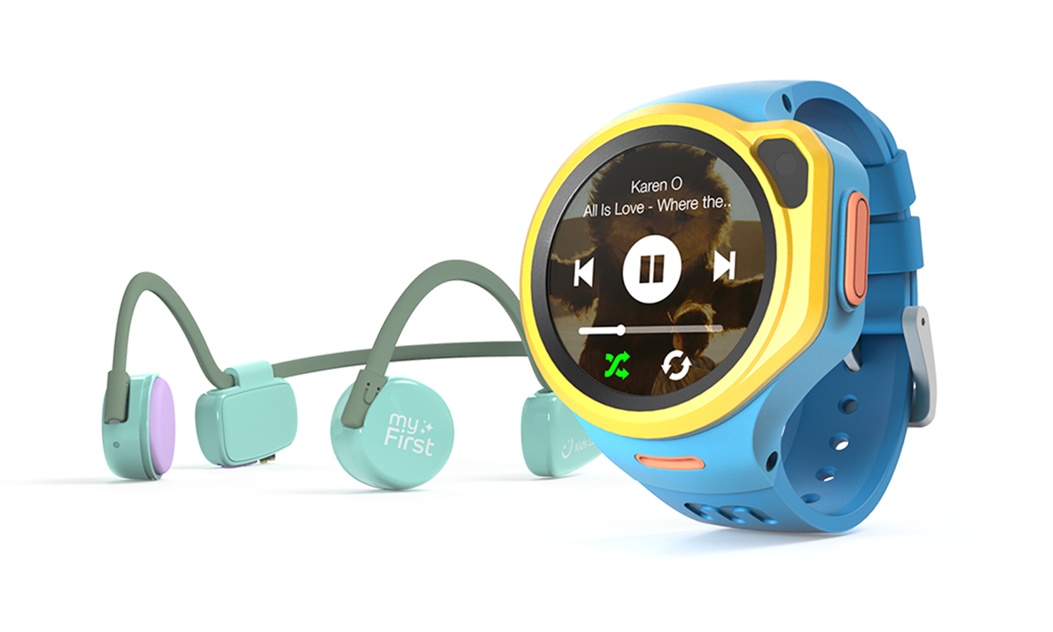 myFirst Fone R1 - Smart watch phone for kids with gps tracker and MP3 Player with myFirst Headphones BC Wireless