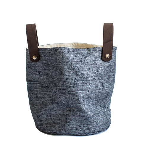 Blue linen basket
