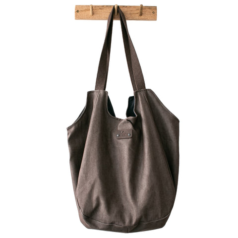 Brown denim day bag