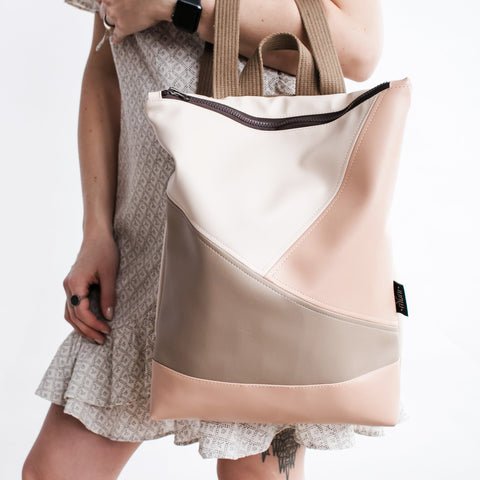 Triple colour backpack, Beige