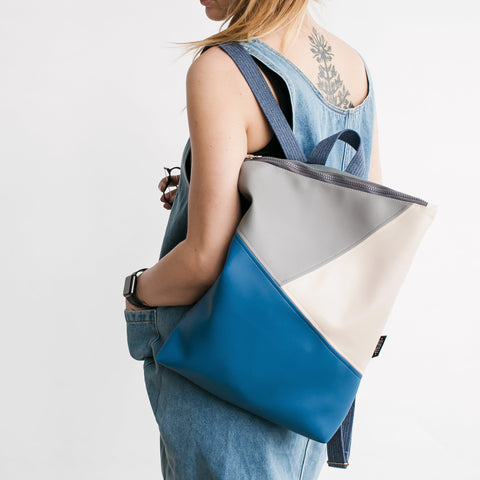 Triple colour backpack, blue