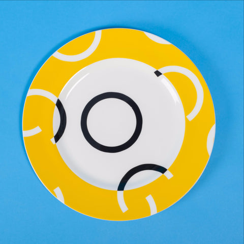 HALFWAYROUND  Rim Print Dinner Plate in YELLOW